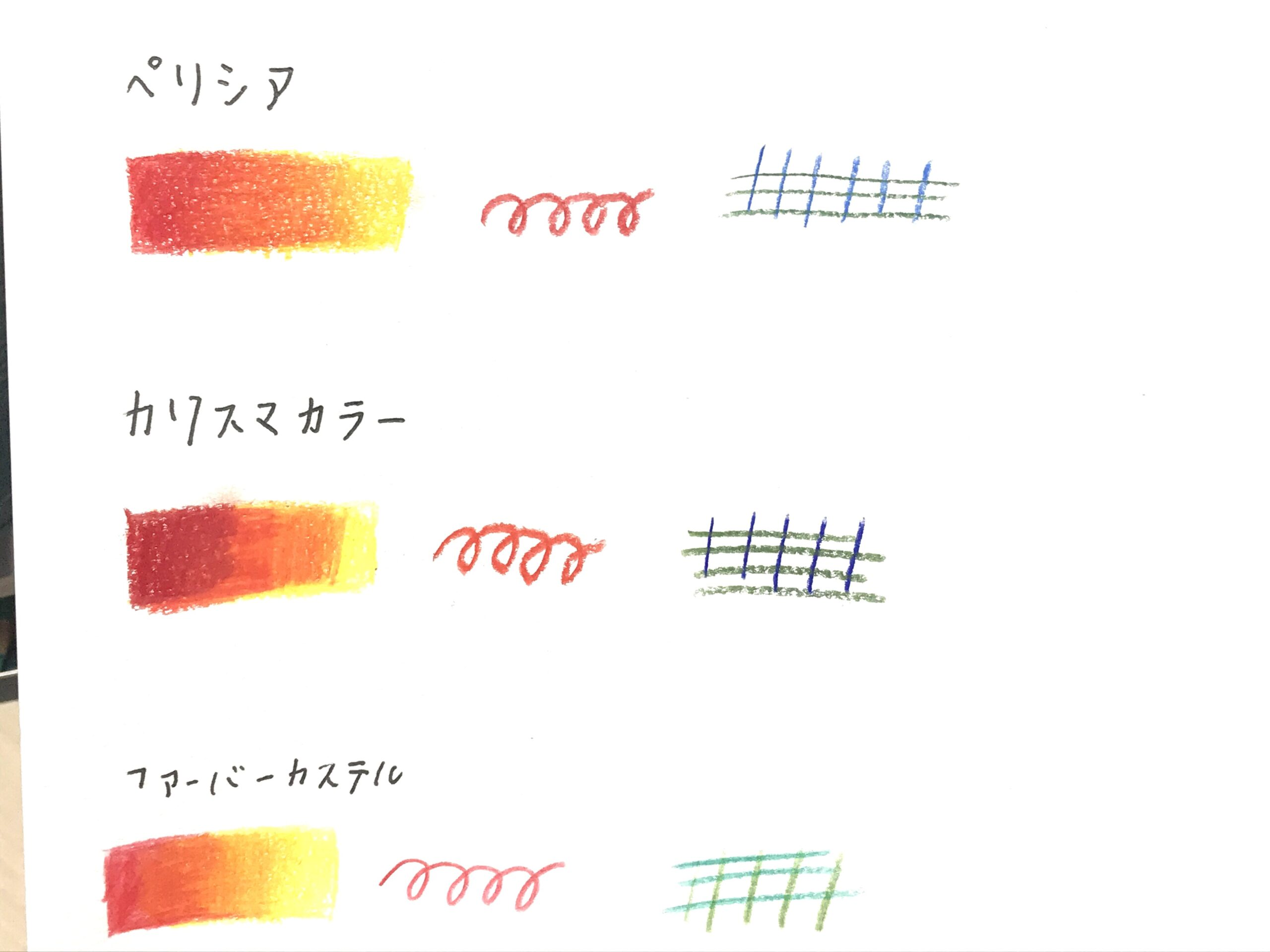 ぺリシア色鉛筆比較